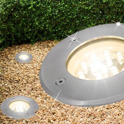 Solar Bodeneinbauleuchte LED  Edelstahl Bodenstrahler Garten rund Einbauleuchte