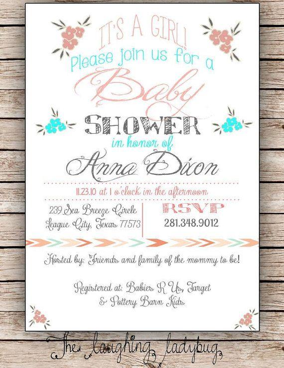 Bridal shower wedding shower invitation Baby by TheLaughingLadybug, $15.00