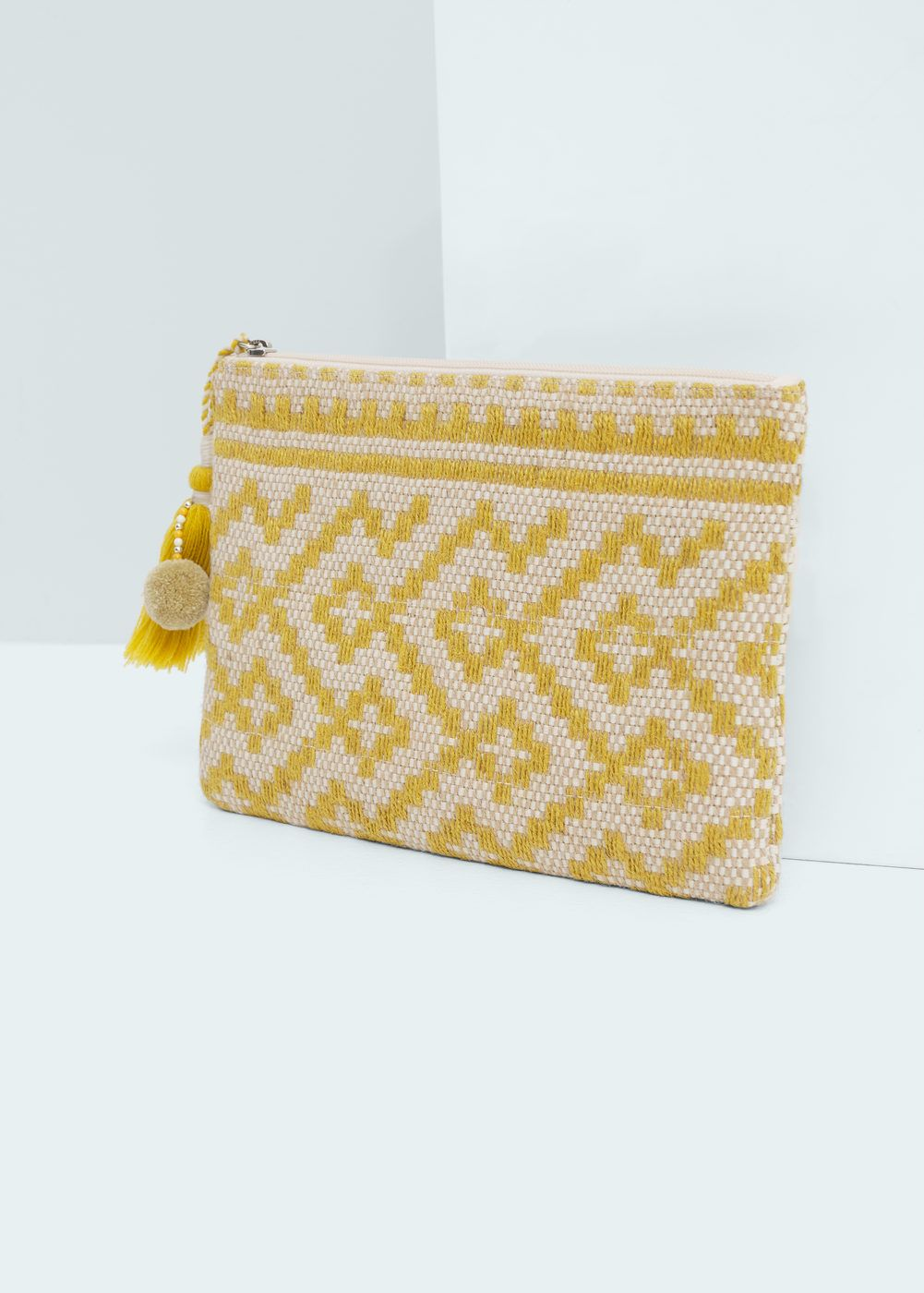 Embroidery with beads of miniature pineapples on cosmetic bag (clutch or case) - original summer decor for handbag
