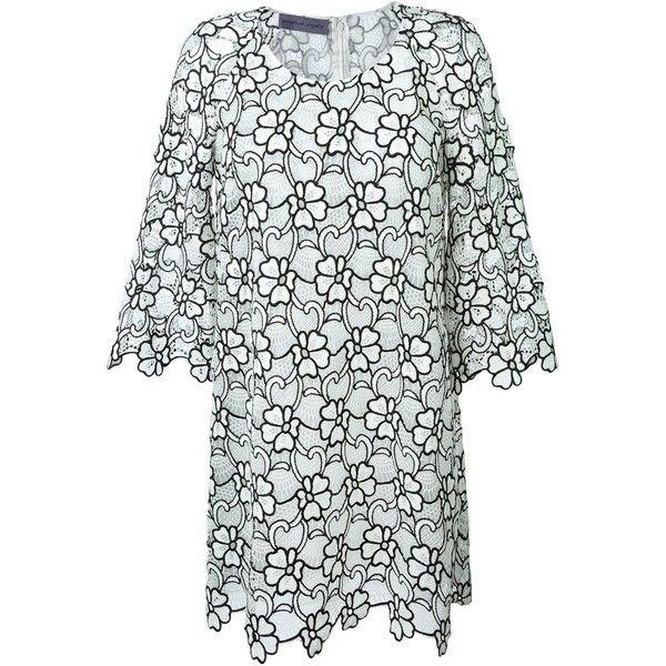 Emanuel Ungaro flower motif party dress (3.701.565 COP) ❤ liked on Polyvore featuring dresses, emanuel ungaro dress, white, blossom dress, white cocktail dresses, flower dress, emanuel ungaro and white dress