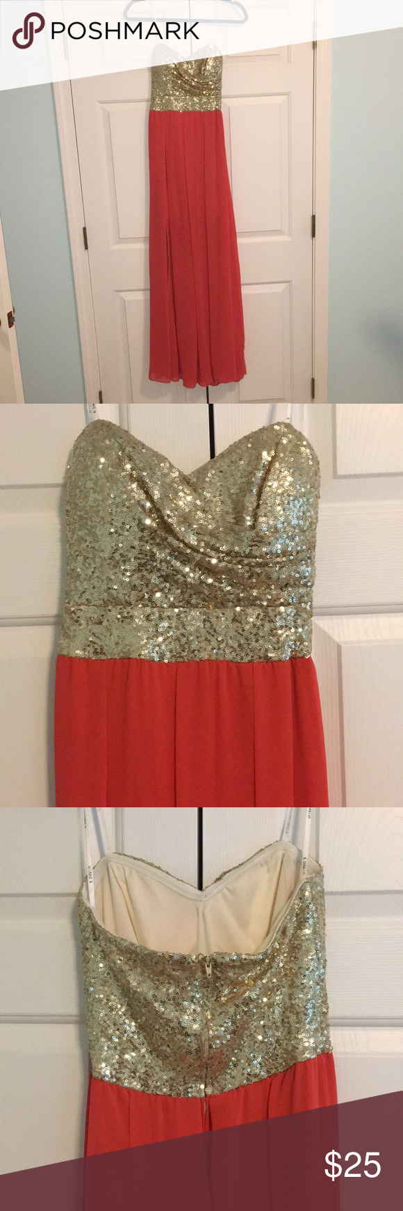 Formalprom dress beautiful dress from macyus strapless gold sequin