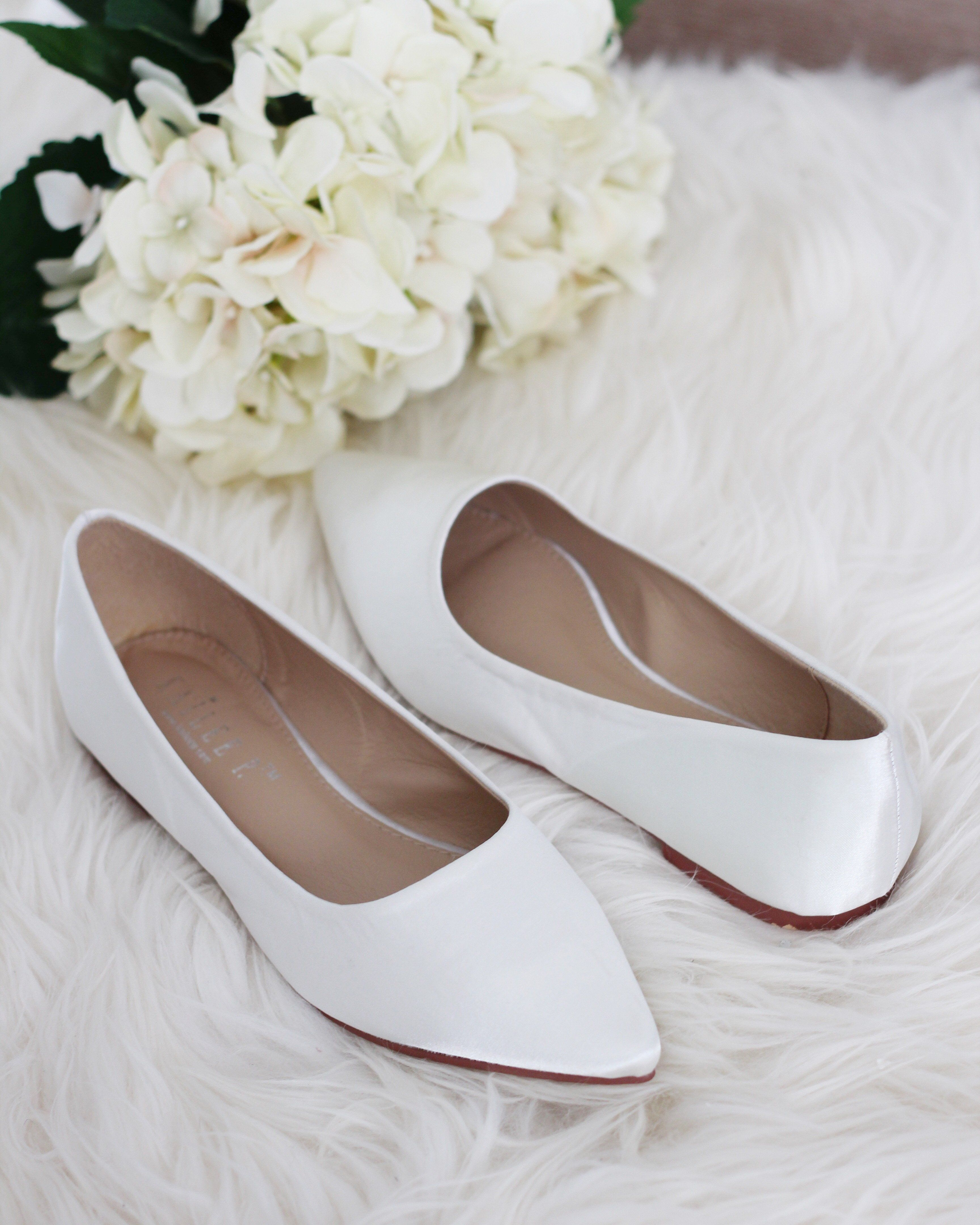 Off White Satin Pointy Toe Women Flats Ivory Wedding Shoes Womens White Flats Bridesmaid Shoes
