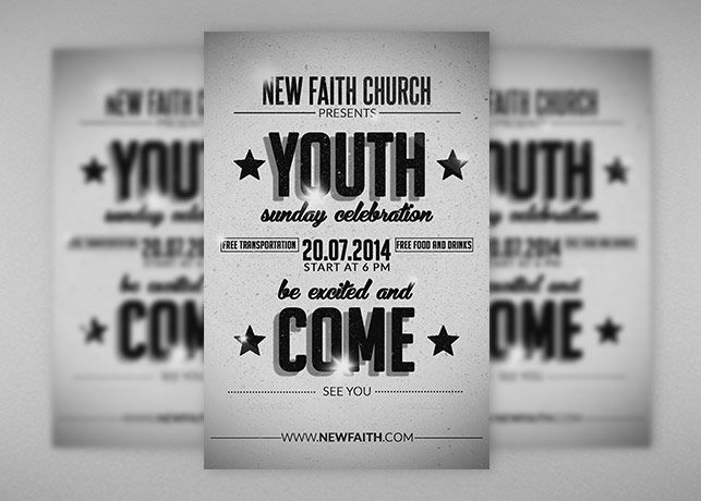 Retro Youth Church Flyer Template is suitable for a Church - christian flyer templates