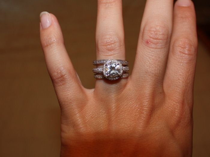 Micro pave wedding bands stacked with vintage ring
