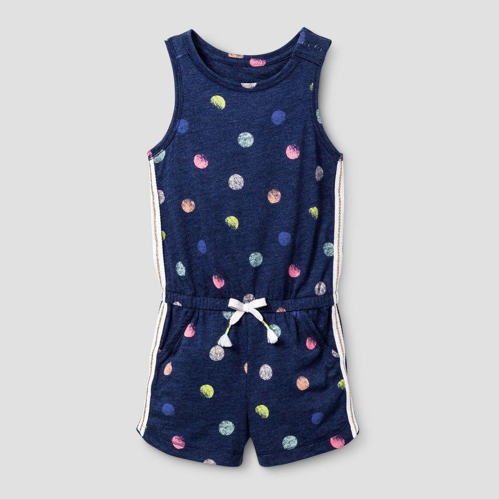 628de912b Cat & Jack, Toddler Girls' Romper Slub Jersey - Nightfall Blue 3T, Toddler  Girl's, Multicolored