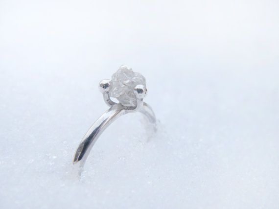 Of all the rings with bling, this is the one I would want to wear forever. Rough diamond ring Sterling silver ring with by AdornSilverJewelry, $133.00