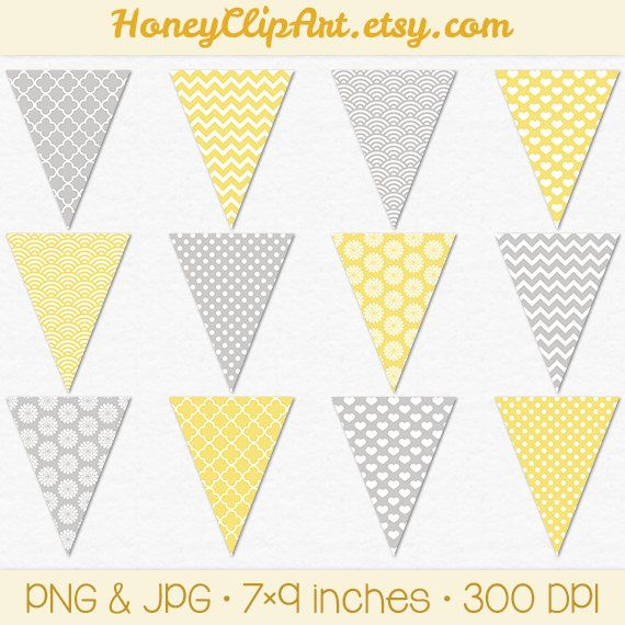 Gray And Yellow Printable Bunting Banner Clip Art With Chevron