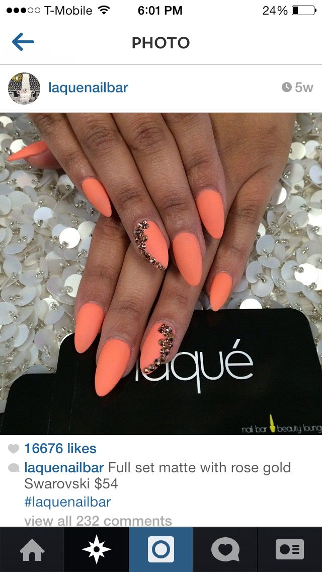matte orange stiletto nails