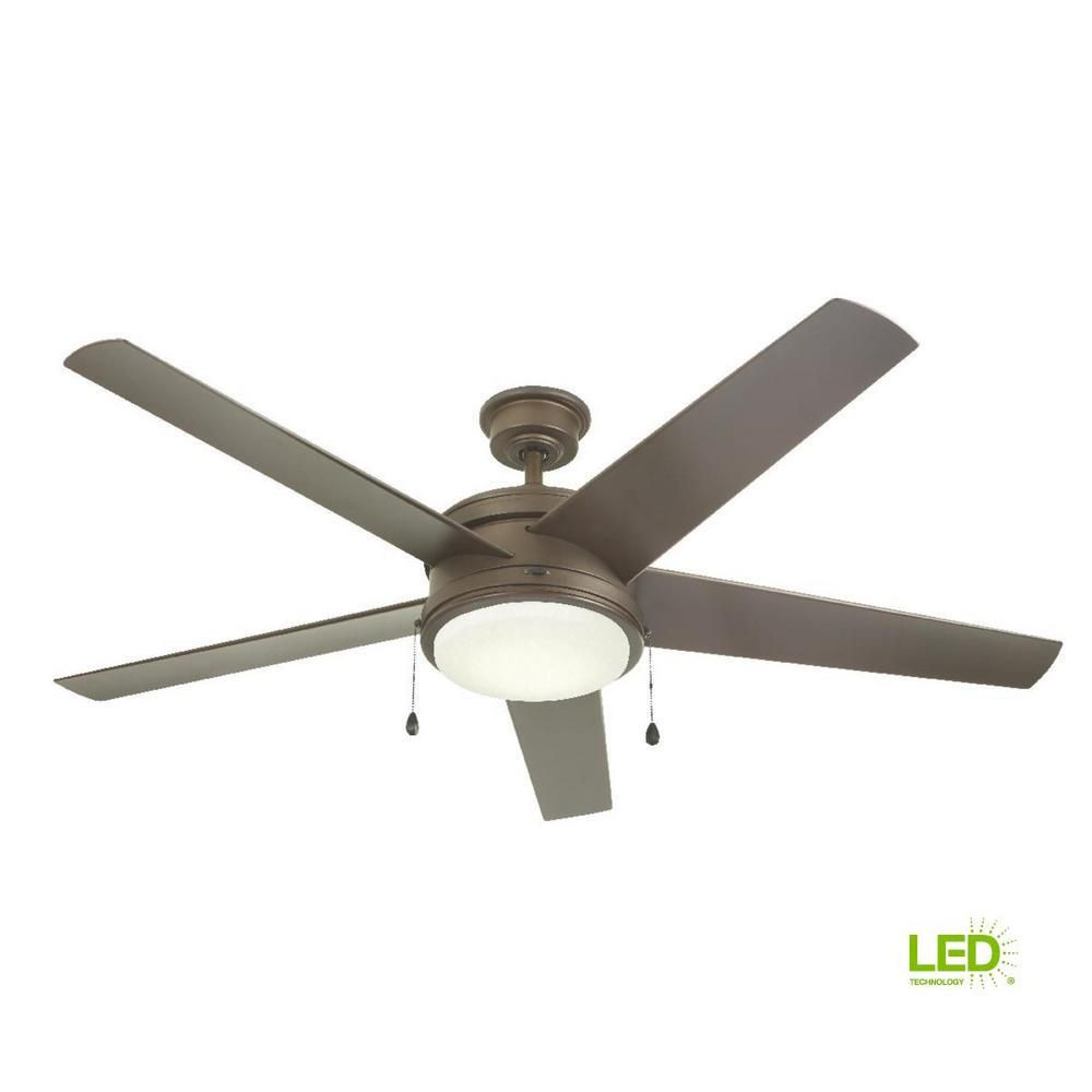 Home Decorators Collection Portwood 60 In Led Indoor Outdoor Brushed Nickel Ceiling Fan Yg528 Bn The Home Depot Bronze Ceiling Fan Ceiling Fan Ceiling Fans For Sale