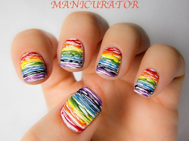 Rainbow mani via manicurator