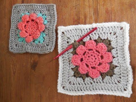 Crochet Flower Granny Square Granny Square Met Bloem Haken