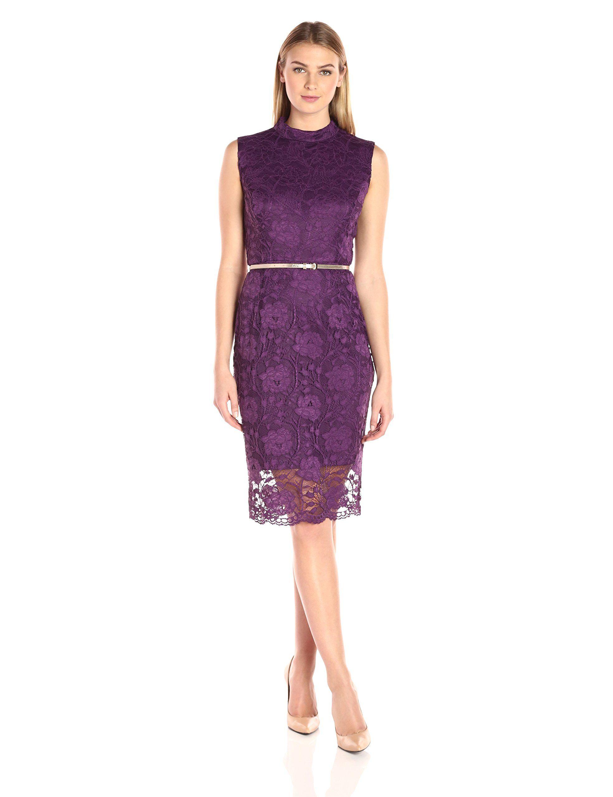 Ellen Tracy Women\'s Lace Mock Neck Dress with Belt | Styles Fashion ...
