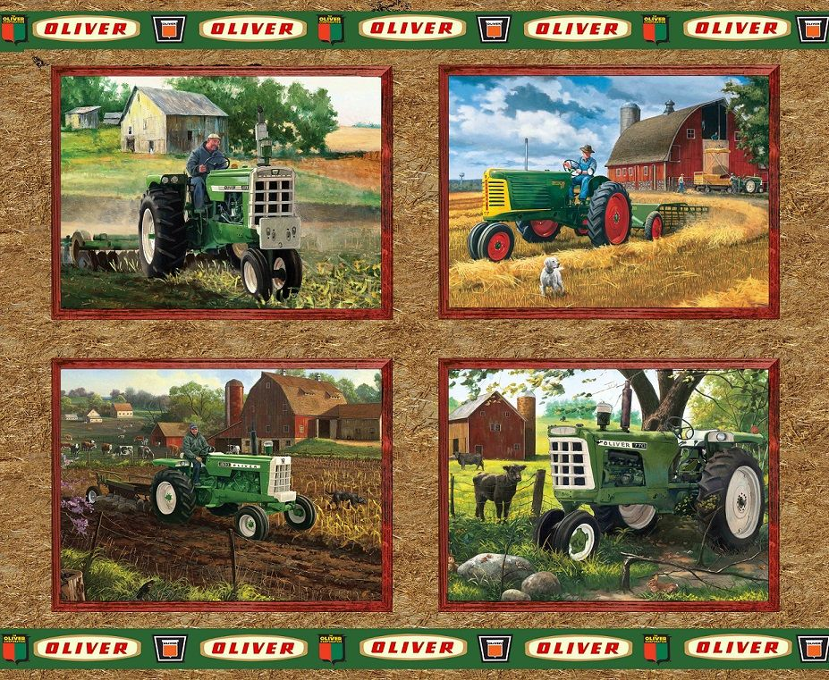 Oliver Tractors On Tan Background Pillow Panel 100 Cotton