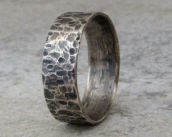 Ring Mens Wedding Band Silver Hammered