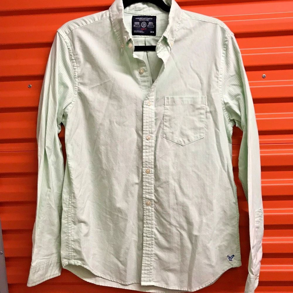 c4e194d45e American Eagle Mens Button Down Shirt Slim Fit Medium Lime Green White  Stripes #fashion #clothing #shoes #accessories #mensclothing #shirts (ebay  link)