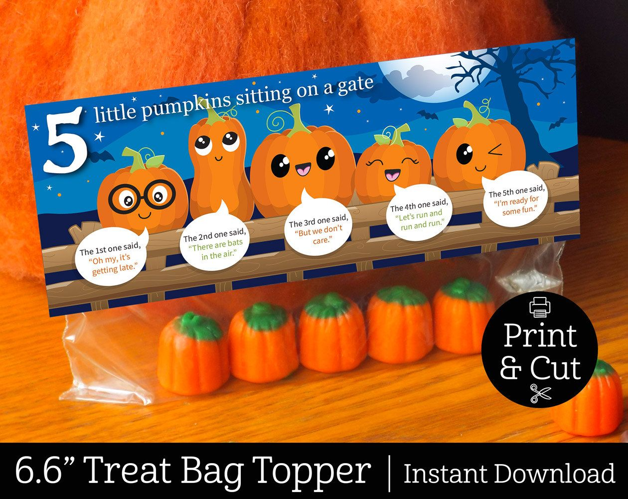 5 Little Pumpkins Bag Topper Instant Editable Download