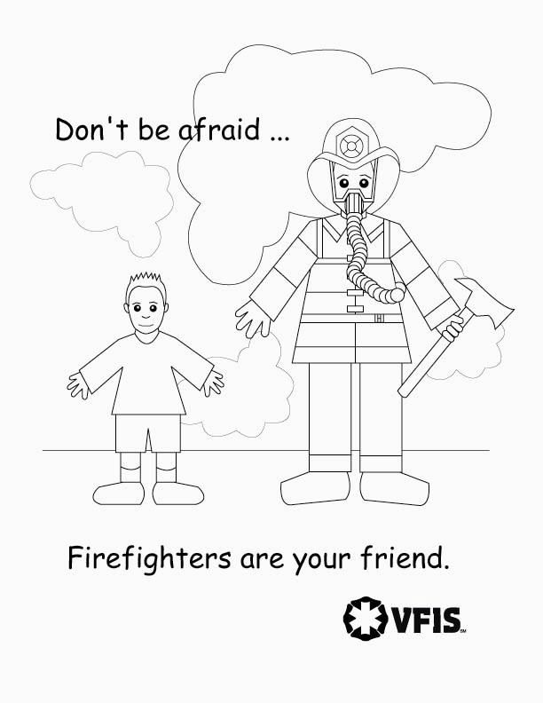 Fire Safety coloring sheets. Kids aren\'t afraid of the nice people ...