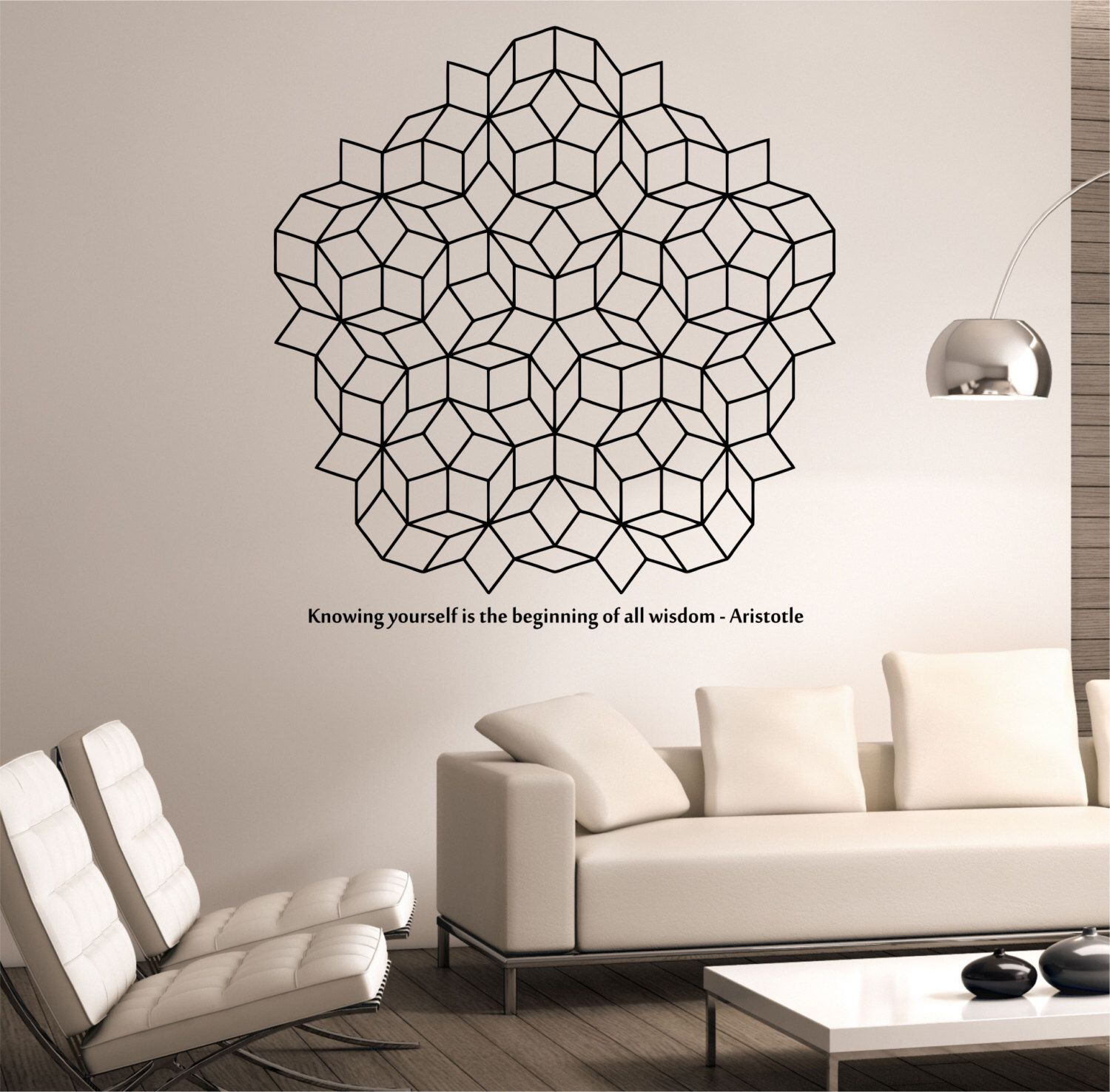 Penrose Tiling Wall Decal WITH QUOTE vinyl Sticker Art Decor Bedroom Design  Mural interior design Science. Penrose Tiling Wall Decal WITH QUOTE vinyl Sticker Art Decor