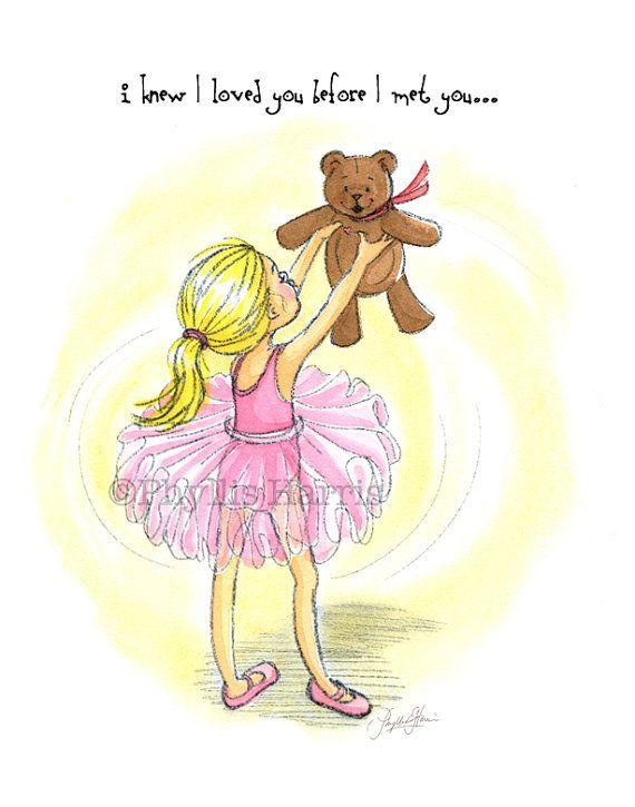 Girl\'s Nursery Wall Art - Ballerina and Teddy Bear art - Gift for ...