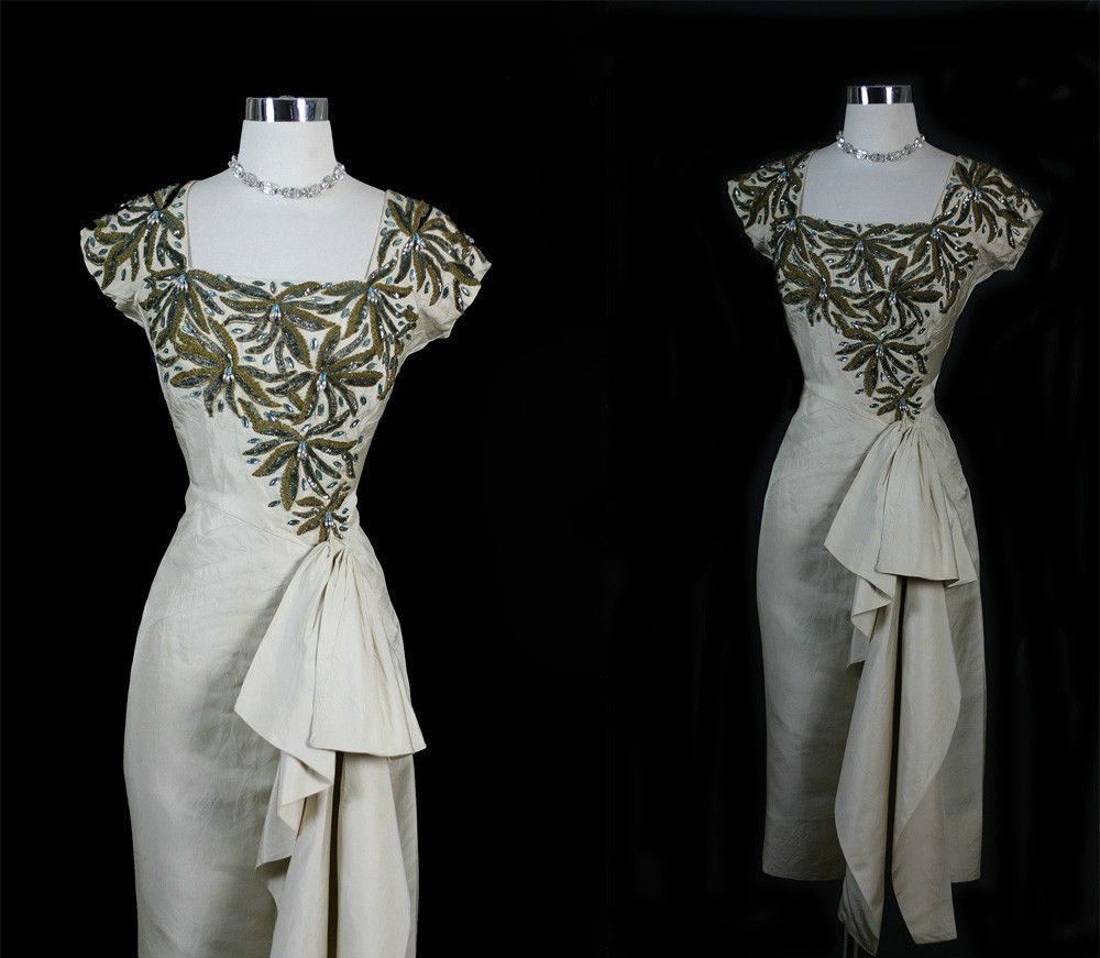 Vintage s decadent beaded bejeweled swag party wedding dress m