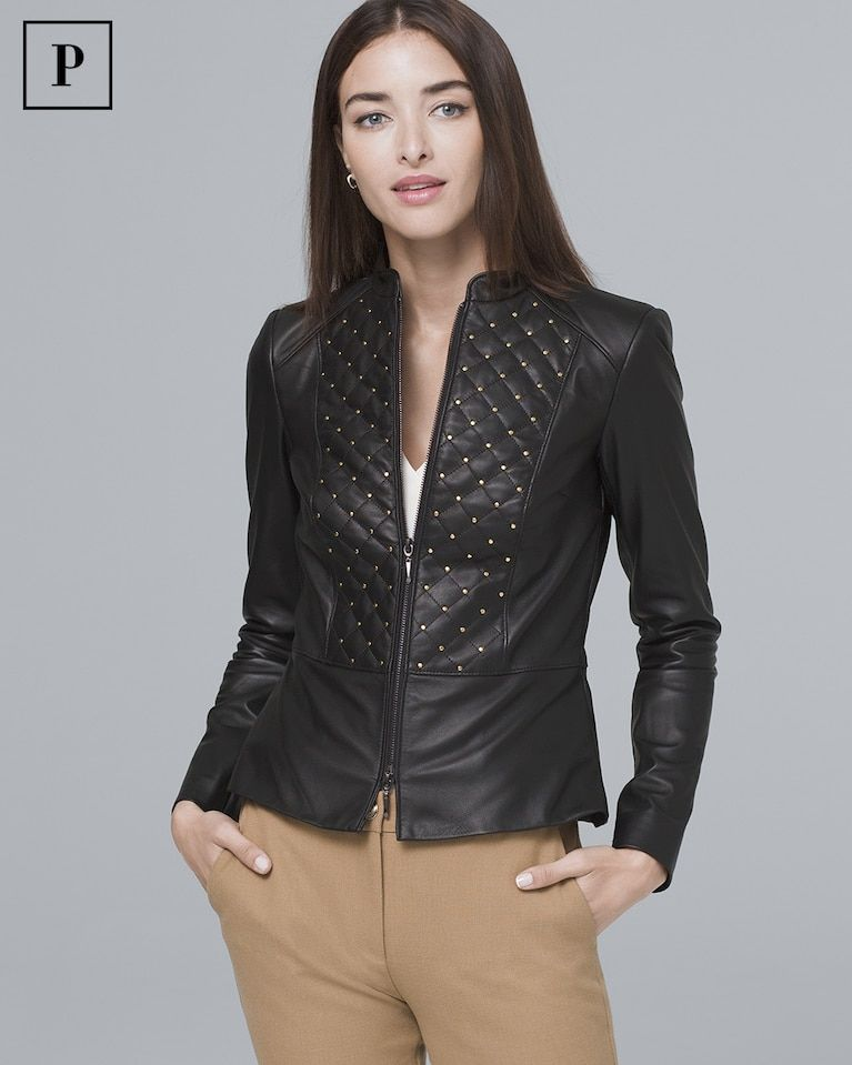883310593b9d Women's Petite Stud-Detail Leather Jacket by White House Black Market