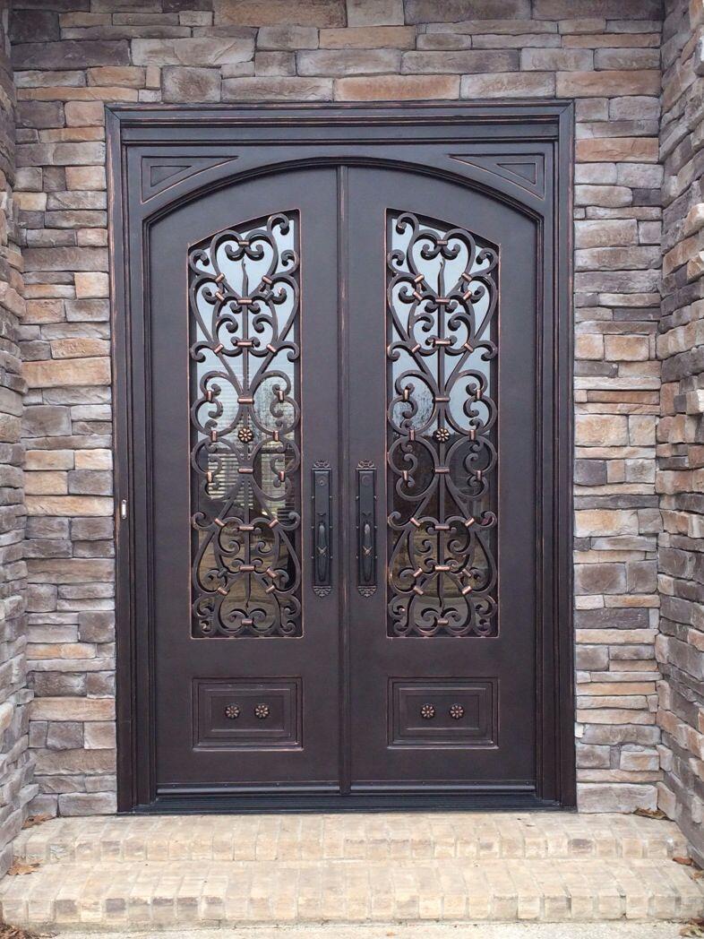 Arched Top Door In Square Frame Exterior Doors Tuscan Doors Iron Doors