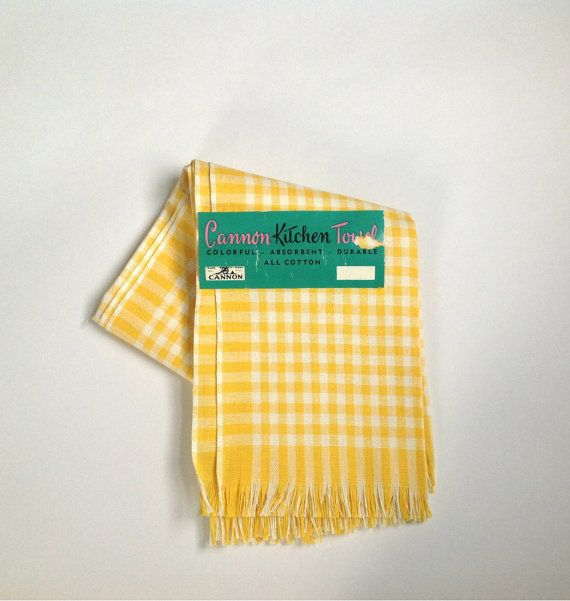 Vintage Set Of Two Bright Yellow And White Gingham Checked Kitchen