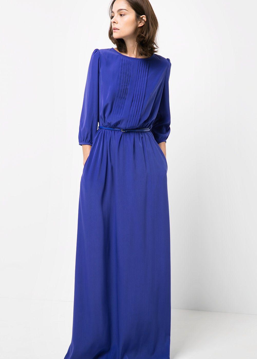 Vestido largo satinado - Mujer | Vestido largo, Vestiditos y Llevamos