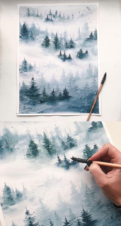 Aquarellmalerei, nebeliger Wald, Aquarell, Aquarell, Winter, Landschaft - Architektur und Kun...