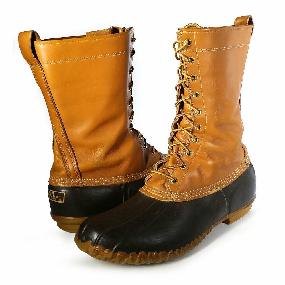 VTG LL BEAN BOOTS 14 USA Brown Duck Boots Mens Size 14 ...