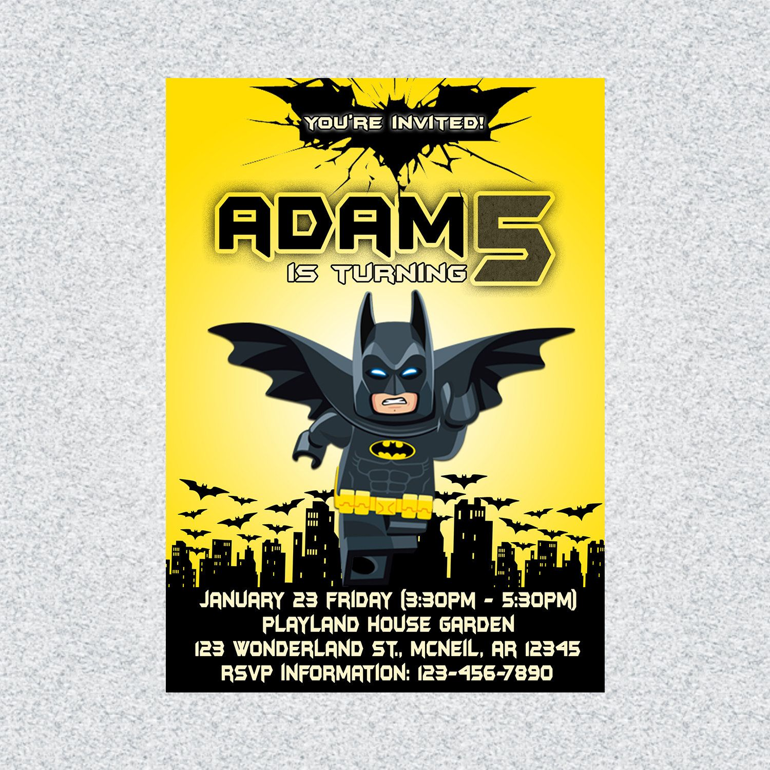 picture about Batman Printable Birthday Card called Batman Birthday Invitation, Batman Printable Invitation