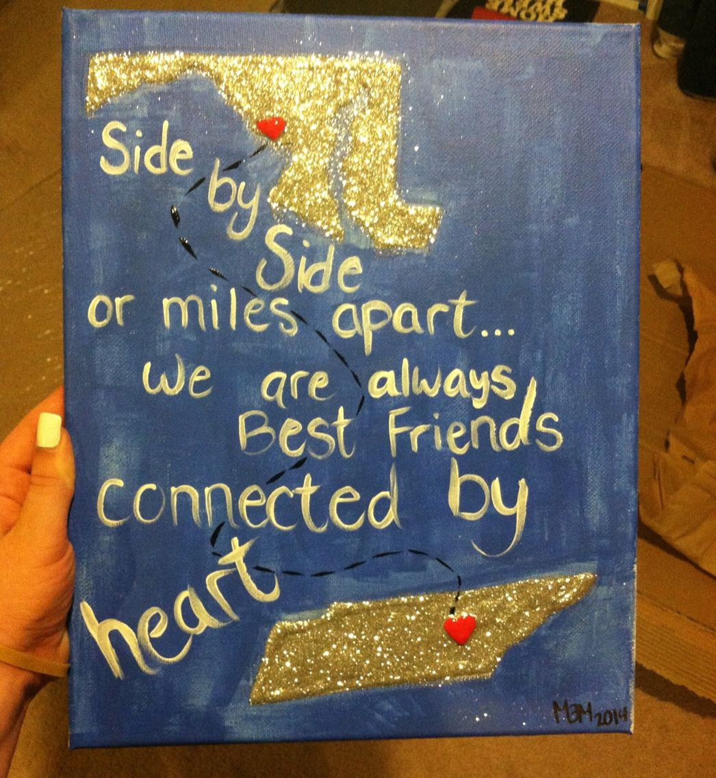 Maryland To Tennessee Long Distance Friendship Canvas Made