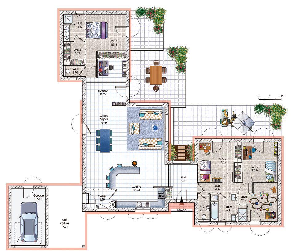 Plan de maison moderne et contemporaine en Dordogne avec module et