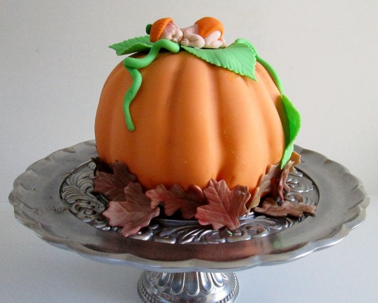 Fall Themed Baby Shower Cakes Part - 28: Pumpkin Baby Cake Pumpkin Cake With Fondant . All The Autumn Leaves Are  Hand Painted