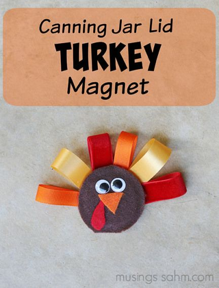 Canning Jar Lid Turkey Magnet - Easy thanksgiving crafts, Fall crafts for kids, Thanksgiving crafts, Jar lid crafts, Crafts for seniors, Crafts - Thanksgiving is just around the corner! As soon as the leaves start to turn, my children are ready to began decorating for Thanksgiving  So today, my daughter Peyton and I are sharing a tutorial for