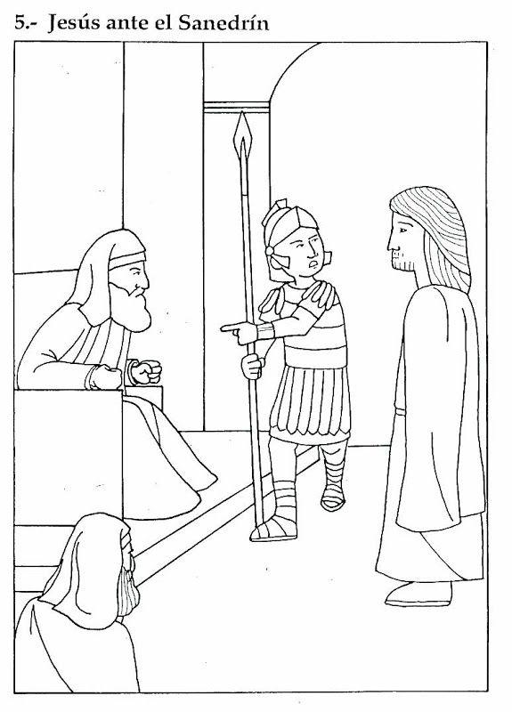 Pinto Dibujos: Jesús ante el Sanedrín para colorear | Arrestation de ...