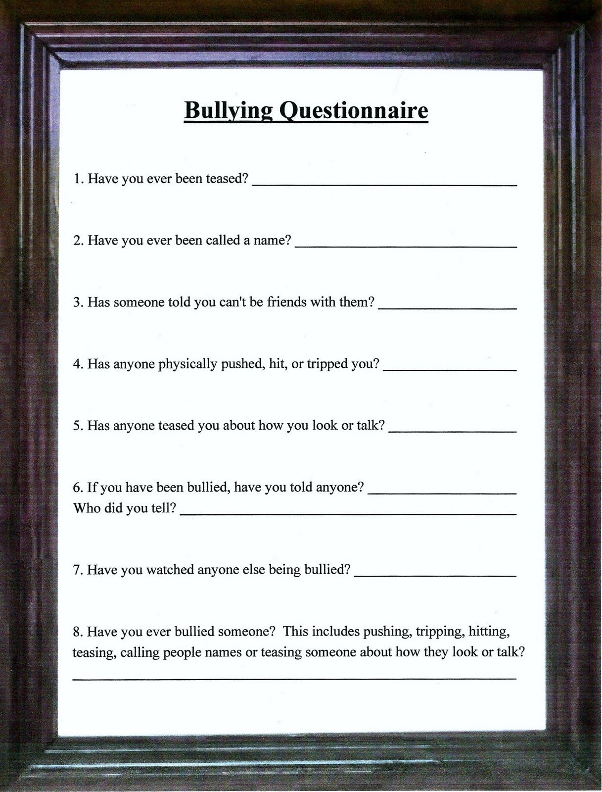Lorinda Character Education Bullying Questionnaire Amp My Name Is Bully 8