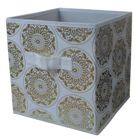 Mainstays Collapsible 10 5 Inch X 10 5 Inch Cube Storage Bins Gold Medallion Silver Cube Storage Bins Cube Storage Storage Bins