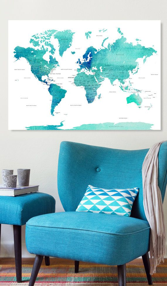 Canvas world map ready to hang canvas wrap choose size world world map countries and their capitals usa and canada states and capital states track your travels with the push pins gumiabroncs Image collections