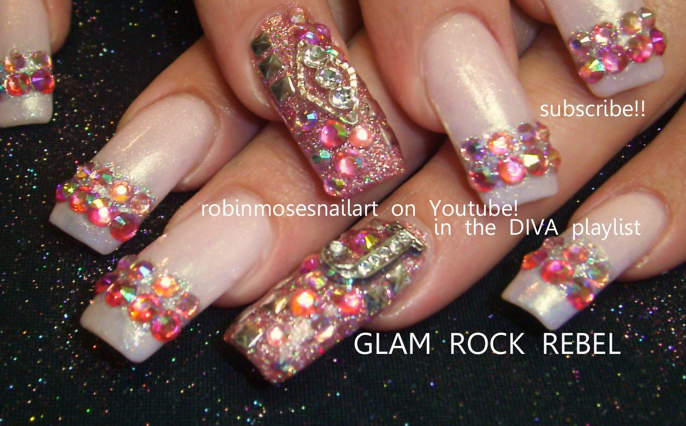 Nail-art by Robin Moses GLAM ROCK diva http://www.youtube.com/watch ...