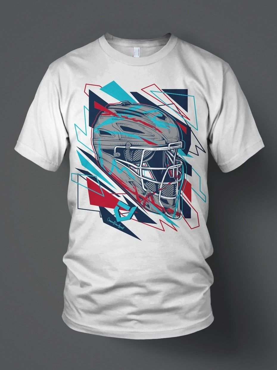 cf5a1994 Geometric style umpire helmet illustration Cool Tees, Mens Tops, T Shirt,  How To