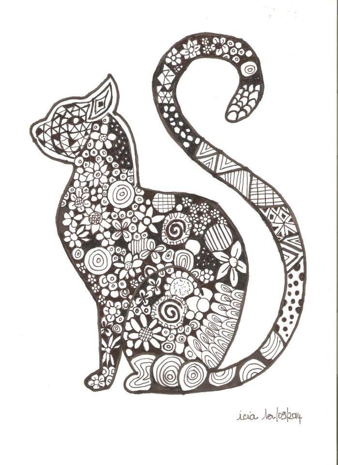 Coloriage chat cat Pinterest Zentangles Cat