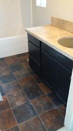Main Bath Vinyl Floor Tile Countertop Tile Countertops Vinyl