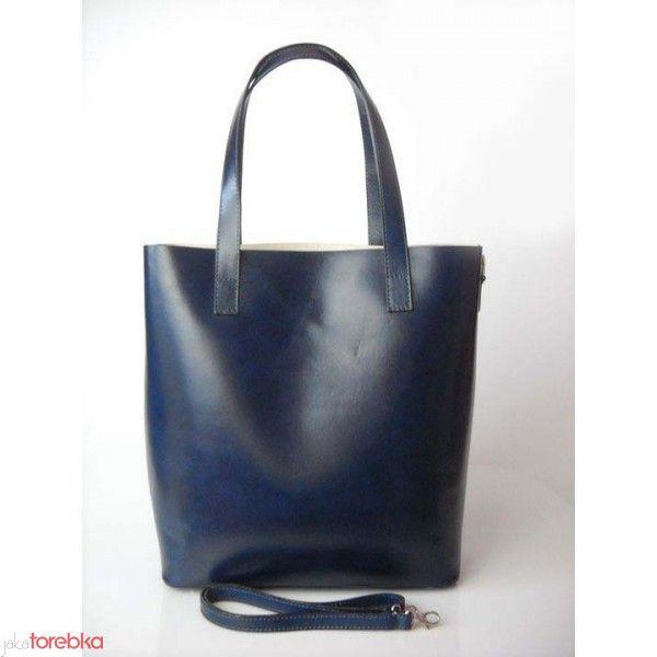 7e21d30a91b99 Włoska Torebka Shopper Bag Skóra Naturalna VERA PELLE Granatowa ...