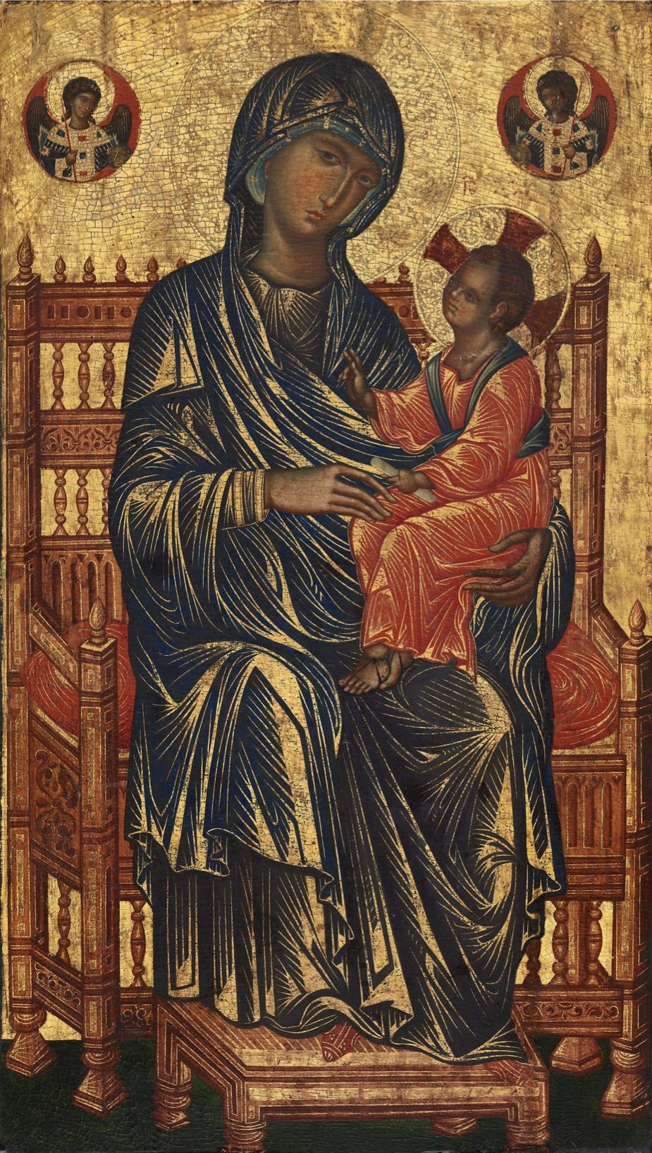 Byzantine 13th Century Enthroned Madonna and Child