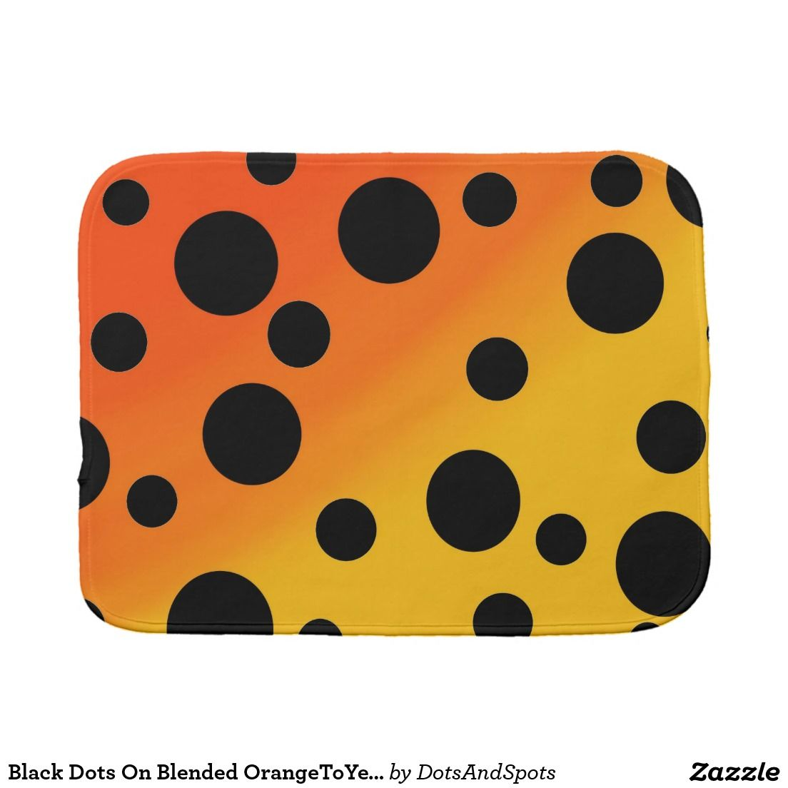 Black Dots On Blended OrangeToYellow Baby Burp Cloths