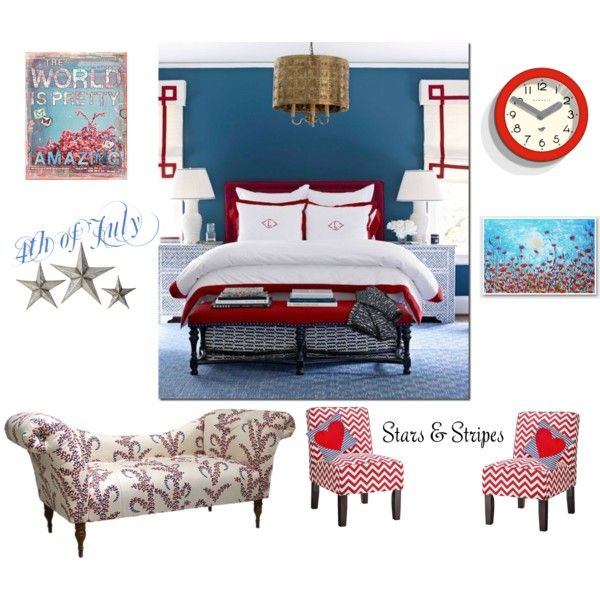 """""""Red, White and Blue Room"""" by shortz on Polyvore"""