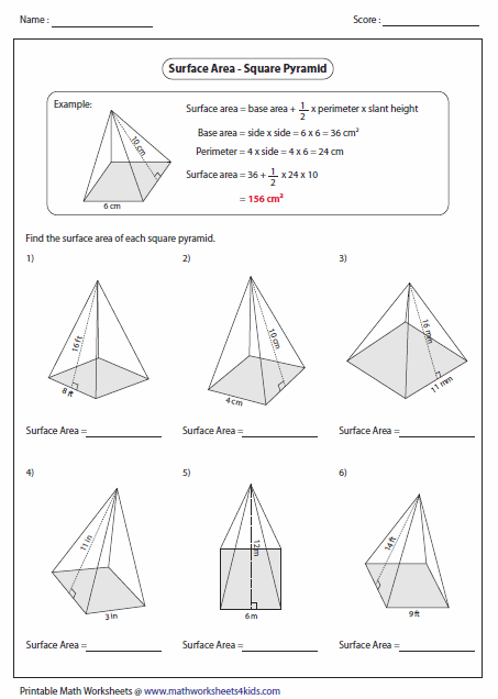 Pictures Surface Area Of Pyramid Worksheet - Toribeedesign