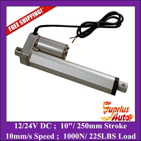 Free Shipping 10inch/ 250mm stroke electric linear actuator 12v