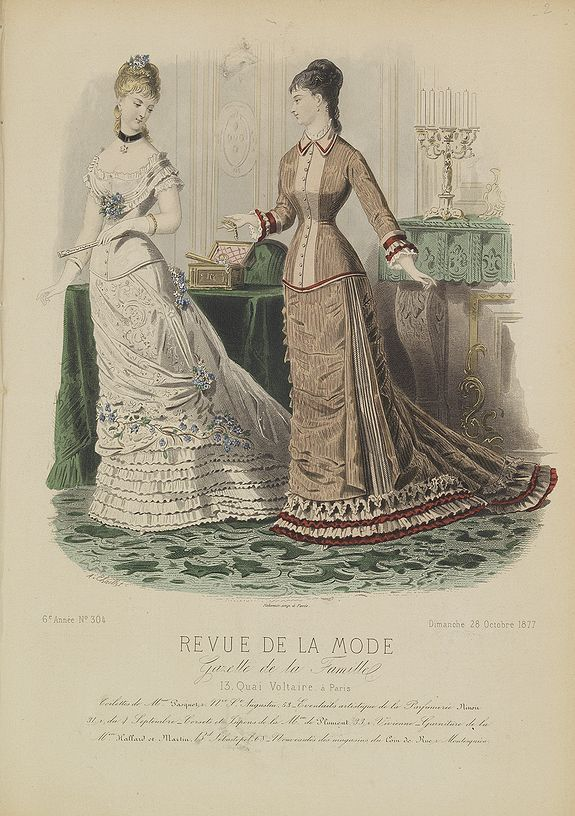 revue de la mode title paris fashion plate 304 published in paris 1877 fashion 1870s. Black Bedroom Furniture Sets. Home Design Ideas